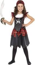 a044f403b2c5 Dívčí kostým pirátka černo-červený