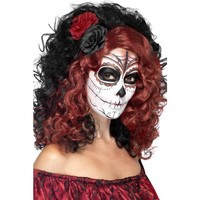Day of the Dead Wig, Black, with Roses [Not Applicable]