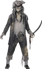 c4a71b7c997e Pánský halloweenský kostým Duch piráta šedý
