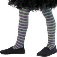 Dívčí čarodějnické pruhované punčocháče fialovo-zelené ed28cc51f0