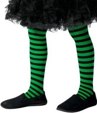 3ab3ed7ea53 Dívčí čarodějnické pruhované punčocháče zeleno-černé