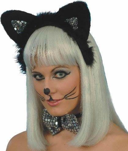 Dámská sada kočka stříbrná (uši a motýlek)