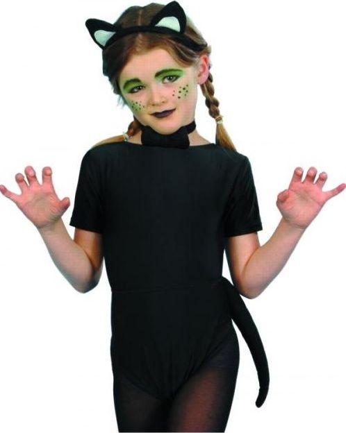 Dětská sada kočka (uši, ocas, motýlek)