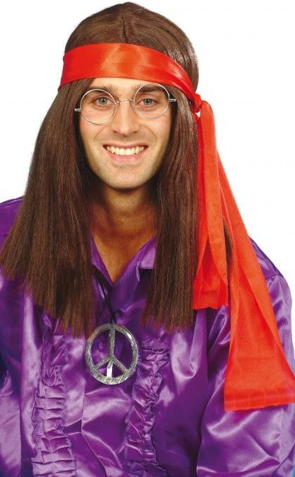 Pánská sada hippiesák ( paruka, medailón, šátek)