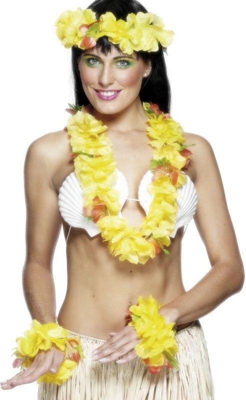 Dámská havajská sada žlutá (náhrdelník, věneček, 2x náramek)