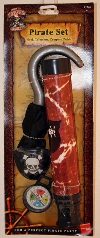 Pirátská sada (hák, dalekohled, kompas, záslepka)