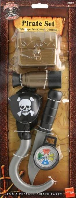 Pirátská sada šestidílná (truhla, záslepka, dalekohled, hák, nůž, kompas)