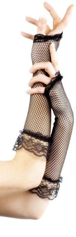 Síťované rukavice černé bez prstů (dlouhé)