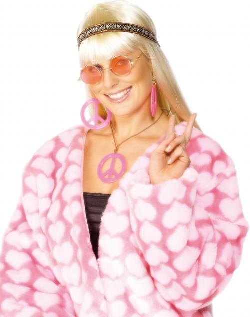 Dámská sada hippiesačka růžová (páska, brýle, šperky)