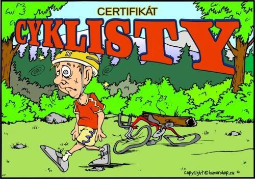 Certifikát cyklisty (naležato)