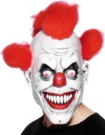 Maska klaun (bíla s červenými vlasy)