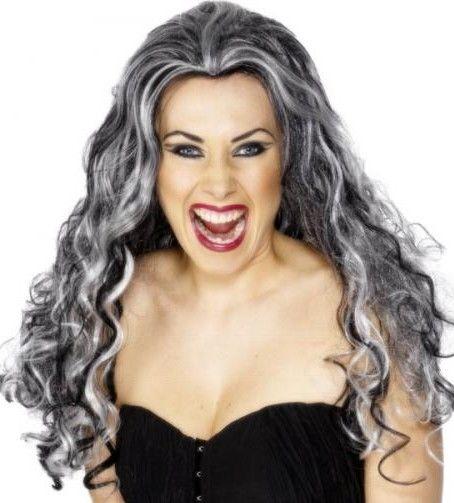 Dámská paruka čarodějnice černá s šedou dlouhá