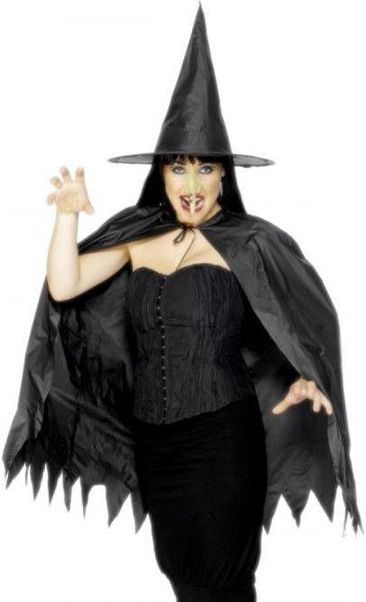 Dámská sada Čarodějnice (plášť, klobouk, nos)