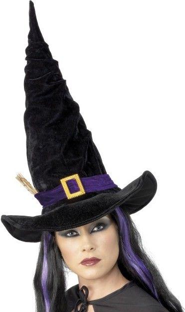 Klobouk čarodějnice černý s větvičkou