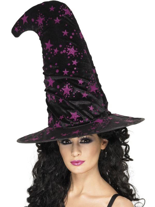 Klobouk Čarodějnice (s fialovými hvězdami)