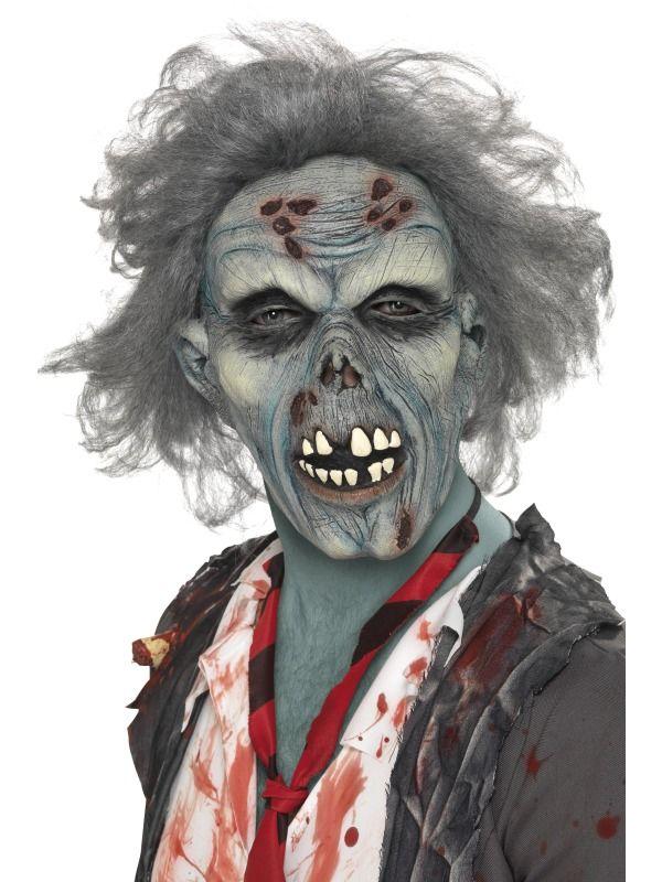 Halloween maska zombie (šedá s vlasy)