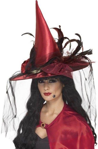 Klobouk Čarodějnice červený