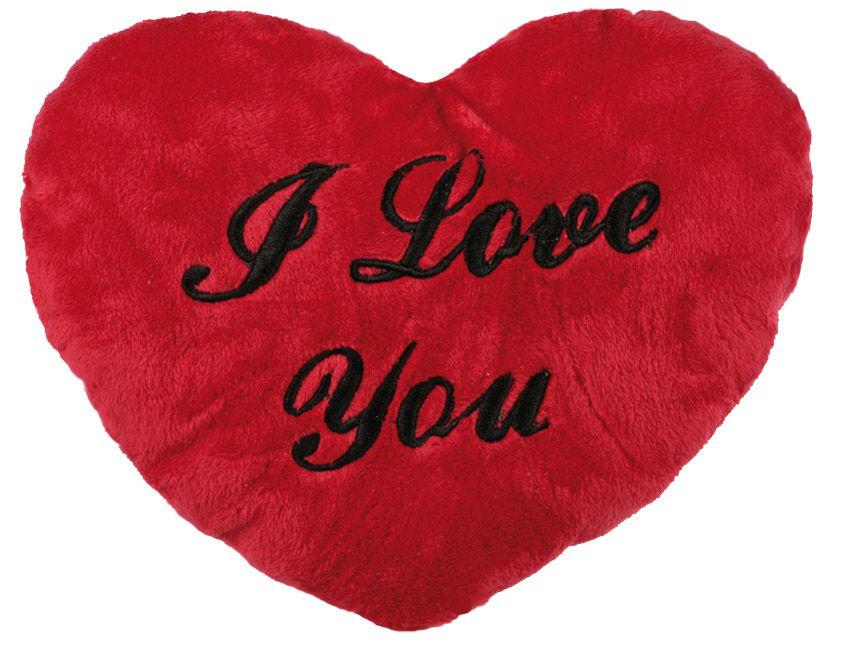 Polštářek plyšové srdce - I love you