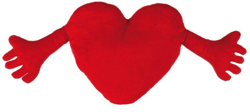 Polštářek plyšové srdce s ručičkami