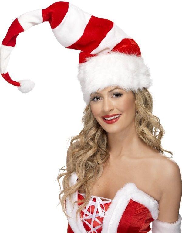 Čepice Santa s bílo-červenými pruhy
