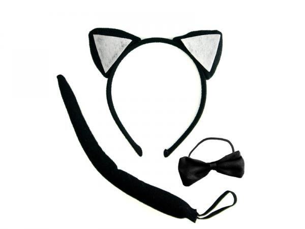 Sada kočka černo-bílá (uši, ocas, motýlek)
