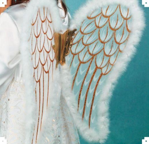 Andělská křídla zlato bílá se svatozáří (90x50 cm)