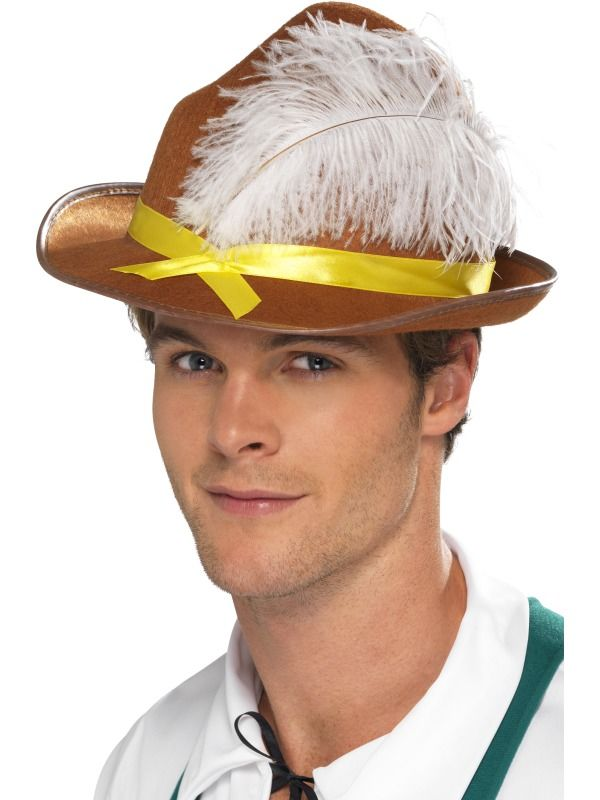 Bavorský klobouk s peřím,hnědý