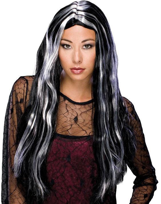 Dámská paruka,čarodějnice, šedo-černá,dlouhá