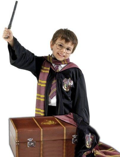 Dětská sada Kufr Harryho Pottera (róba, šála, kravata, brýle, hůlka, plášť)