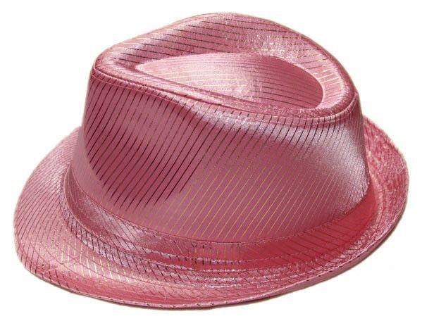 Klobouk gangster růžový s pruhy