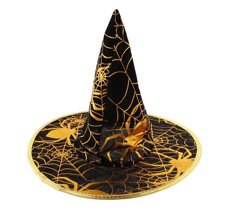 Čarodějnický klobouk se zlatým motivem pro dospělé