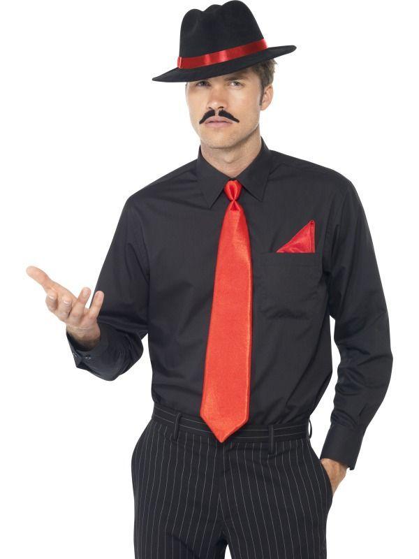 Pánská sada Gangster červená (klobouk, kravata, kapesník)