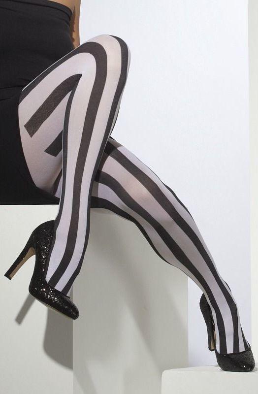 Punčocháče pruhované bílo-černé svislé pruhy