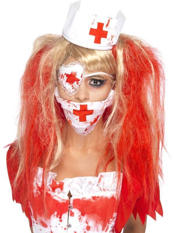 Dámská halloweenská sada zombie sestřička (rouška, čepeček, záslepka)