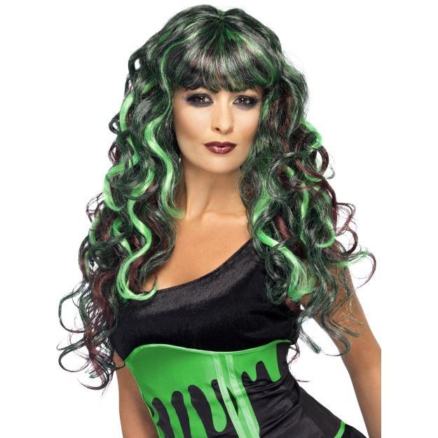 Dámská paruka černo zelená kudrnatá s ofinou