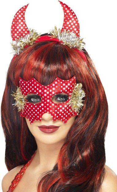 Dámská sada čertice červená (rohy, maska)