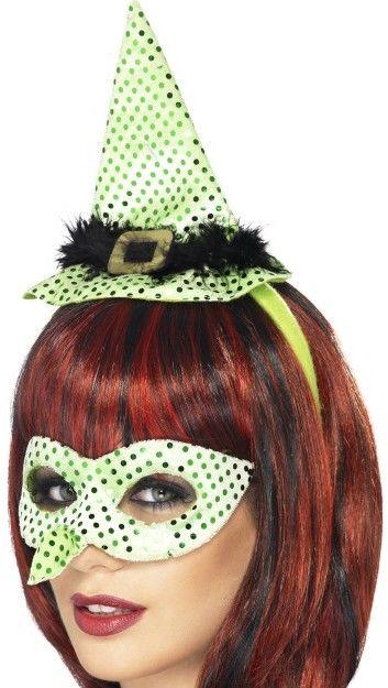 Dámský klobouk a škraboška čarodějnice