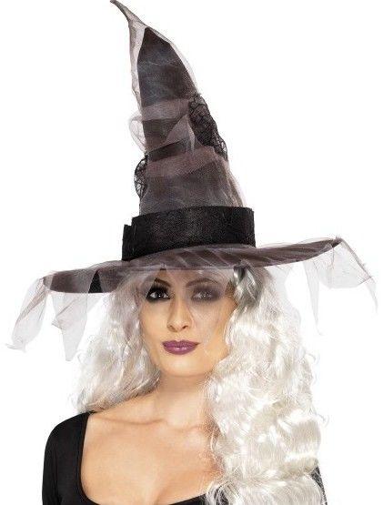Dámský klobouk Čarodějnice černo šedý se síťkou