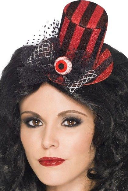 Dámský mini klobouk černo červený