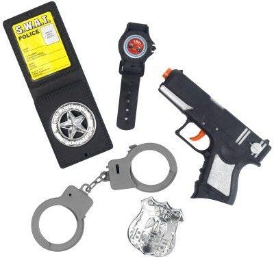 Dětská sada policista (pistole,2x odznak, pouta, hodinky)