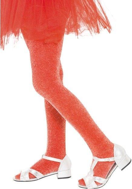 Dětské punčocháče červené se stříbrným třpytem