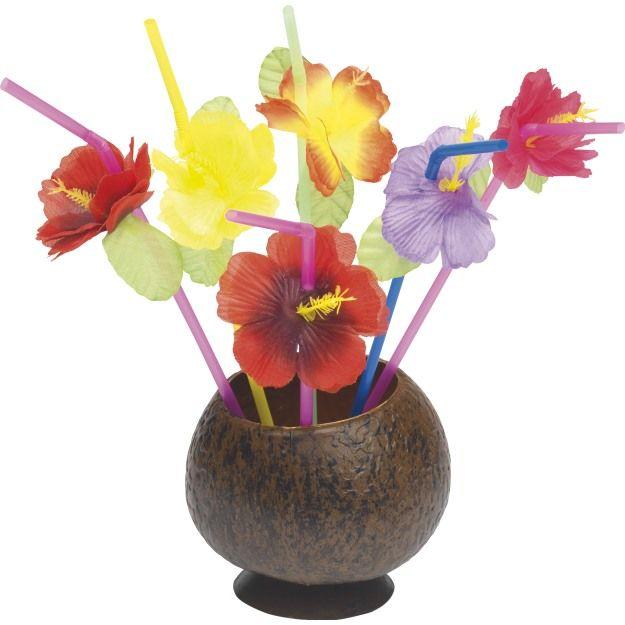 Havajská brčka s květinou 12 ks - mix barev