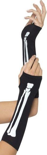 Látkové rukavice bez prstů Kostlivec