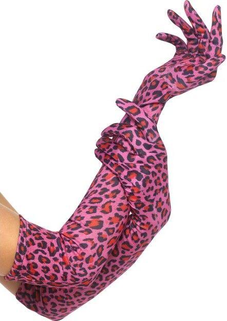 Látkové rukavice Leopard růžové