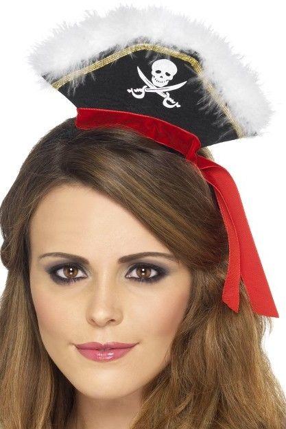 Mini klobouk Pirátka s čelenkou