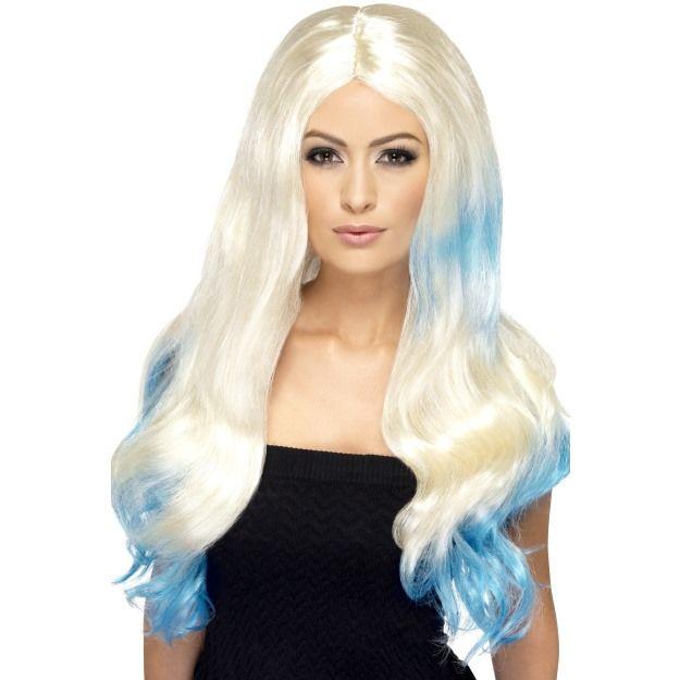 Dámská paruka Dip Dye blond s modrou