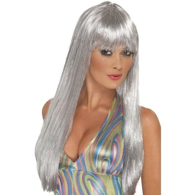 Dámská paruka Disco dívka - stříbrná