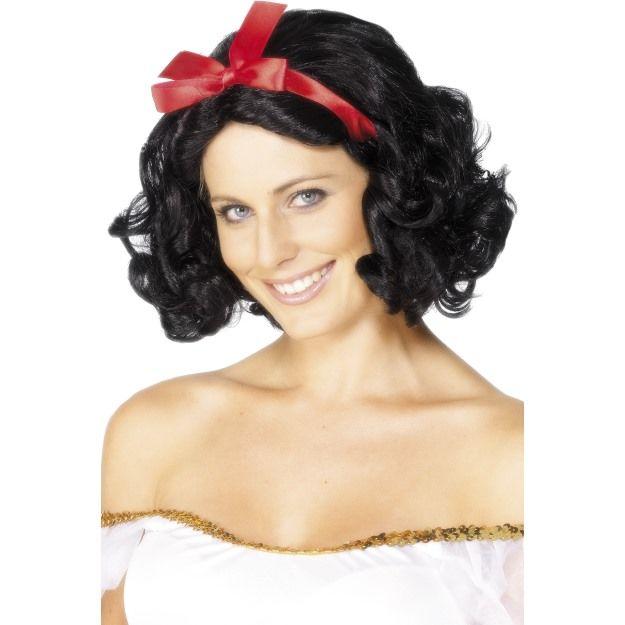 Dámská paruka Fairytale černá s červenou mašlí