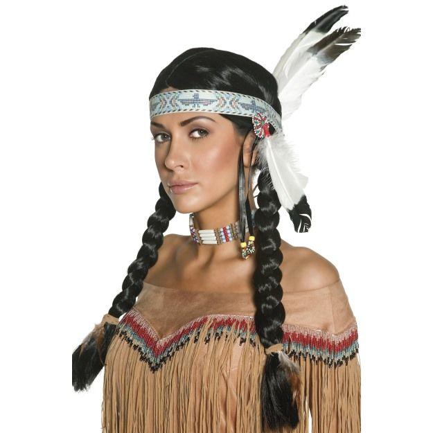 Dámská paruka Indiánka s pletenými copánky a čelenkou