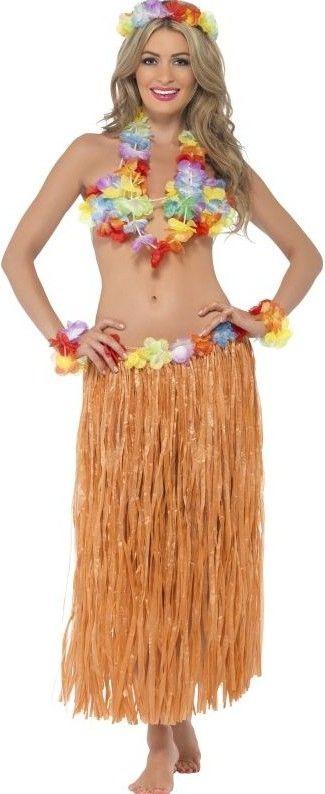 Havajská sada - Hula Hula (sukně, čelenka, náramky, věnec, podprsenka)